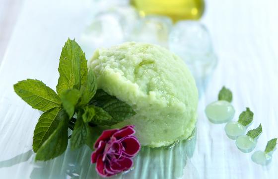 Helado de yogur de soja con menta
