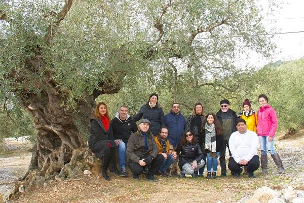 El grupo de visita a los olivos milenarios de Málaga