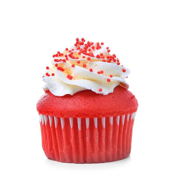 Red velvet cupcake con glaseado de queso cremoso